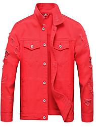 cheap -Men's Denim Jacket - Solid Colored Shirt Collar / Long Sleeve