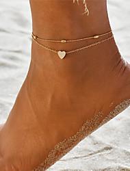billiga -Lager-på-lager Yoga Ankelkedja ankeln Armband - Hjärtformad Bohemisk, Mode Guld / Silver Till Gåva Helgdag Dam