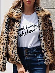 Недорогие -Жен. Пальто с мехом Уличный стиль / Изысканный - Геометрический принт С принтом