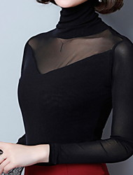 cheap -Women's Basic T-shirt - Solid Colored Mesh