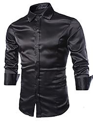 Недорогие -Муж. Размер ЕС / США - Рубашка Классический воротник Тонкие Уличный стиль Однотонный / Длинный рукав