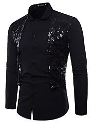 billige -Herre - Farveblok Blonder Basale Skjorte