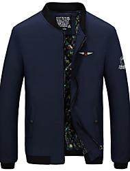 Недорогие -Муж. Спорт Большие размеры Куртка Воротник-стойка Однотонный / Длинный рукав