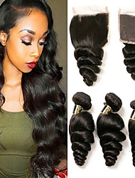 cheap -3 Bundles with Closure Malaysian Hair Loose Wave Unprocessed Human Hair / Human Hair Gifts / Natural Color Hair Weaves / Hair Bulk / Tea Party Favors 8-20 inch Natural Color Human Hair Weaves 4x4
