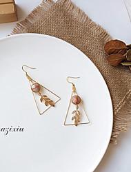 baratos -Mulheres Fashion / Contas Brincos em Argola - Tema Flores, Formato de Folha Importante, Geométrico Dourado Para Encontro / Bandagem