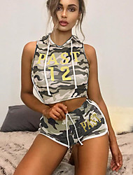 cheap -Women's Cropped Tracksuit - Army Green Sports Camouflage High Rise Shorts / Hoodie Running, Fitness, Gym Sleeveless Activewear Lightweight, Quick Dry, Breathable Micro-elastic
