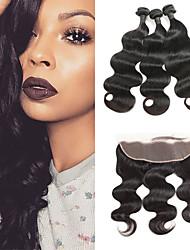 cheap -3 Bundles with Closure Indian Hair Body Wave Human Hair Human Hair Extensions / Hair Weft with Closure 8-26 inch Human Hair Weaves 4x13 Closure Soft / Best Quality / New Arrival Human Hair Extensions