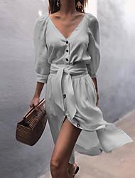 abordables -Femme Au dessus du genou Chemise Robe Couleur Pleine Col en V Printemps Automne Rose Claire Beige Gris M L XL Manches Courtes
