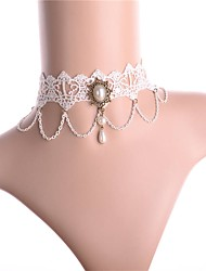 cheap -Women's Classic / Hollow Out Choker Necklace - Imitation Pearl, Lace Vintage, Sweet White 32 cm Necklace 1pc For Date, Festival