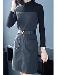 cheap -Women's Going out A Line Dress High Waist Turtleneck