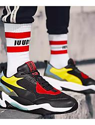billige -Herre Clunky Sneakers Net Forår / Efterår Sporty Sneakers Åndbart Farveblok Sort / Grå / Sort / Rød