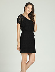 cheap -Suzanne Betro Women's Basic / Elegant Sheath / Little Black Dress - Floral Lace / Lace up