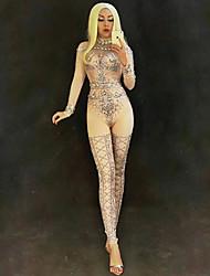 baratos -Fantasia de Dança Roupas de Dança Exótica / Body de Strass Mulheres Espetáculo Elastano Cristal / Strass Manga Longa Natural Collant / Pijama Macacão