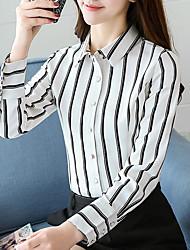 Недорогие -Жен. С кисточками Рубашка Деловые / Классический Полоски Черное и белое