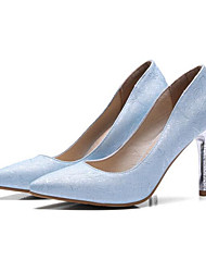 baratos -Mulheres Sapatos Confortáveis Couro Ecológico Primavera Saltos Salto Agulha Roxo Claro / Prateado / Azul Claro / Diário