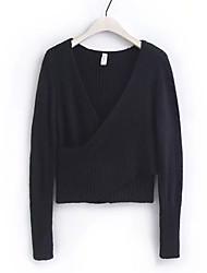 billige -Kvinders langærmet slank pullover - solid farvet v-hals