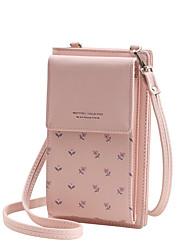 Недорогие -Жен. Мешки PU Мобильный телефон сумка Узоры / принт Цветочный принт Розовый / Верблюжий / Серый