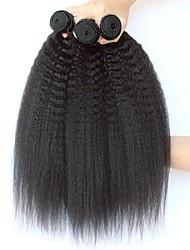Недорогие -3 Связки Индийские волосы Вытянутые 8A Натуральные волосы Необработанные натуральные волосы Подарки Косплей Костюмы Человека ткет Волосы 8-28 дюймовый Естественный цвет Ткет человеческих волос