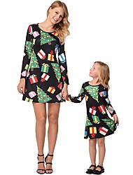 cheap -2pcs Adults / Kids Mommy and Me Galaxy / Rainbow Long Sleeve Dress