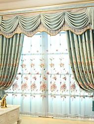economico -Sheer Curtains Shades Salotto Fantasia floreale / Fantasia geometrica Tessuto sintetico Ricami
