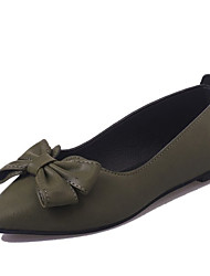 cheap -Women's Shoes PU(Polyurethane) Spring & Summer Comfort Flats Flat Heel Pointed Toe Bowknot Black / Green / Dark Brown