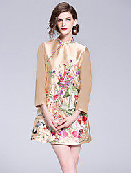 baratos -Mulheres Vintage / Temática Asiática Evasê Vestido - Bordado, Floral Acima do Joelho