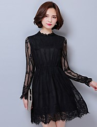 cheap -Women's Street chic A Line / Sheath Dress - Solid Colored Lace / Mesh / Lace Trims