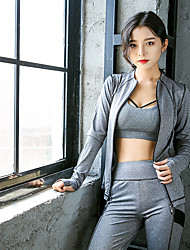 cheap -Women's Patchwork 3pcs Tracksuit / Yoga Suit - Grey Sports Stripe High Rise Sweatshirt / Bra Top / Skinny Pants Yoga, Running, Fitness Long Sleeve Activewear Lightweight, Breathable, 4 Way Stretch