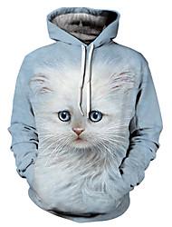 abordables -Homme Exagéré Ample Pantalon - 3D / Animal Chat, Imprimé Bleu clair / Manches Longues / Automne / Hiver