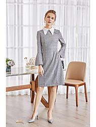 cheap -ZIYI Women's Holiday / Going out Slim A Line Dress Shirt Collar