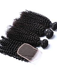 economico -3 pacchi con chiusura Brasiliano Riccio Fasci di tessuto 100% di capelli di Remy Ciocche con tessitura 18 pollice Naturale Tessiture capelli umani 4x4 Chiusura Estensioni dei capelli umani Per donna