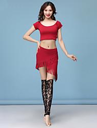 ราคาถูก -ชุดเต้นระบำหน้าท้อง Outfits สำหรับผู้หญิง การฝึกอบรม Modal Wave-like / ผ่า / ชั้น แขนสั้น ปรับตัวลดลง กระโปรง / Top