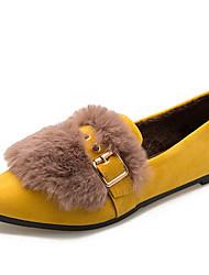Недорогие -Жен. Комфортная обувь Искусственный мех / Полиуретан Осень Минимализм На плокой подошве На плоской подошве Заостренный носок Черный / Желтый / Коричневый