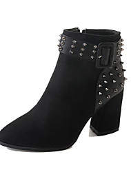 billiga -Dam Fashion Boots PU Höst Minimalism Stövlar Bastant klack Spetsig tå Korta stövlar / ankelstövlar Nit Svart / Mörkbrun