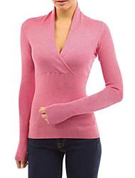 Недорогие -женская тонкая футболка - сплошная цветная шея