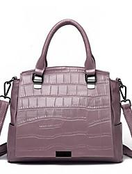 Недорогие -Жен. Мешки Кожа Сумка-шоппер Сплошной цвет Черный / Светло-лиловый