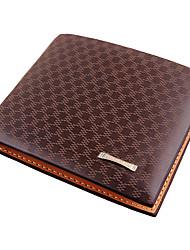 Недорогие -Муж. Мешки PU Бумажники Решетка Темно-коричневый