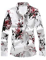 Недорогие -Муж. С принтом Большие размеры - Рубашка Хлопок Тонкие Классический Цветочный принт Красный / Длинный рукав