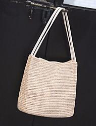 お買い得  -女性用 バッグ 麦わら ショルダーバッグ アイレット 純色 ベージュ / アーモンド