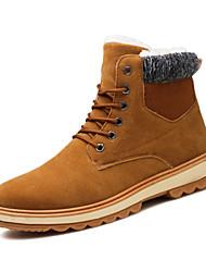 Недорогие -Муж. Комфортная обувь Замша Зима Ботинки Сохраняет тепло Черный / Синий / Хаки