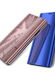 Недорогие -Кейс для Назначение OnePlus OnePlus 6 со стендом / Покрытие / Зеркальная поверхность Чехол Однотонный Твердый Кожа PU для OnePlus 6