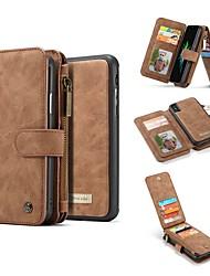 Недорогие -Кейс для Назначение Apple iPhone X Кошелек / Бумажник для карт / Защита от удара Чехол Однотонный Твердый Настоящая кожа для iPhone X / iPhone 8 Pluss / iPhone 8
