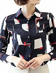Недорогие -Жен. Офис Большие размеры - Рубашка Рубашечный воротник Деловые / Классический Геометрический принт