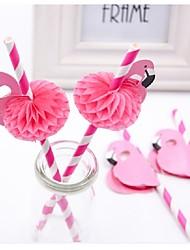 abordables -6pcs flamingo paille 3d paille bendy flexible papier pailles à boire enfants anniversaire / mariage / piscine fête décoration fournitures