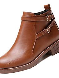 Недорогие -Жен. Армейские ботинки Полиуретан Осень На каждый день Ботинки На низком каблуке Ботинки Черный / Коричневый