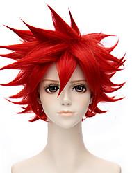 abordables -Perruques de cosplay / Perruque Synthétique Droit Coupe Dégradée Cheveux Synthétiques 10 pouce Animé / Cosplay Rouge Perruque Homme Court Sans bonnet Rouge