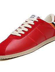 baratos -Homens Sapatos Confortáveis Couro Ecológico Outono Casual Tênis Não escorregar Estampa Colorida Branco / Preto / Vermelho