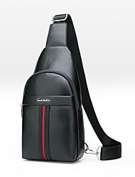 Недорогие -Муж. Молнии PU Слинг сумки на ремне Сплошной цвет Черный / Коричневый