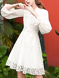 Недорогие -Жен. На выход Тонкие Оболочка Платье Вырез под горло Выше колена