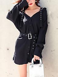 cheap -Women's Basic Little Black Dress - Solid Colored